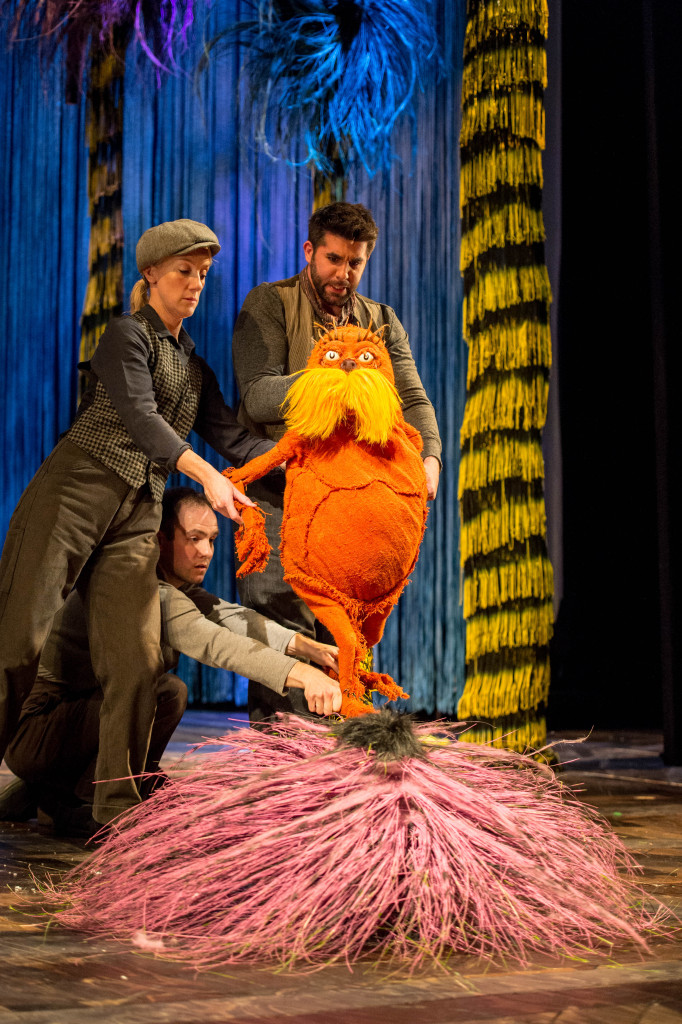 Laura Cubitt (Puppeteer), Ben Thompson (Puppeteer) and Simon Lipkin (The Lorax) -  The Lorax at The Old Vic. Photos by Manuel Harlan.